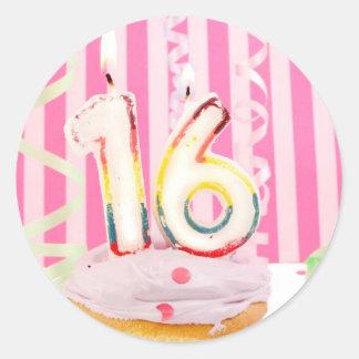 Pink sweet sixteen classic round sticker