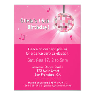 "Pink Sweet Sixteen Disco Dance Birthday Party 4.25"" X 5.5"" Invitation Card"