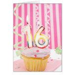 Pink sweet sixteen greeting card