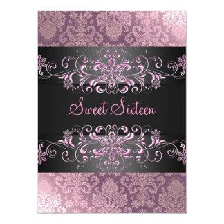 Pink Sweet Sixteen Snow & Damask Birthday Invite