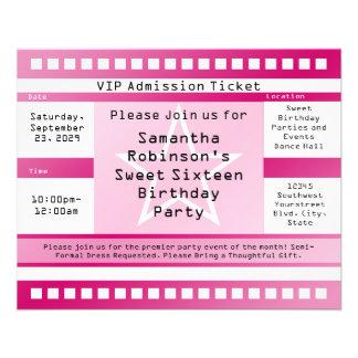 Pink Sweet Sixteen Star Ticket Flyer