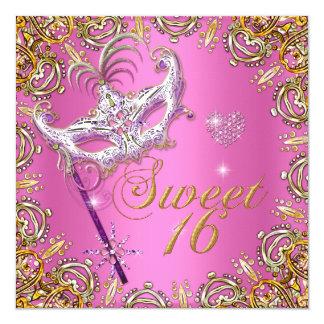 Pink Sweet Sixteen Sweet 16 Masquerade Gold Card