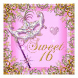 Pink Sweet Sixteen Sweet 16 Masquerade Gold Personalized Invitations