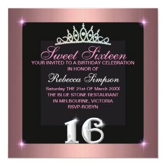 Pink Sweet Sixteen Tiara Birthday Invitation