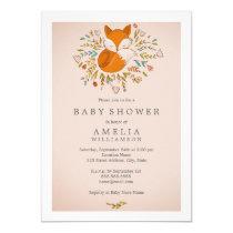 Pink Sweet Woodland Fox Baby Shower Invitation