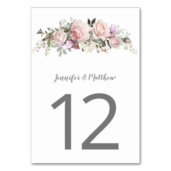 Pink Sweetheart Roses Watercolor Floral | Table Number