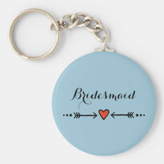 Pink Sweethearts & Arrows Blue Bridesmaid's Gift Keychain