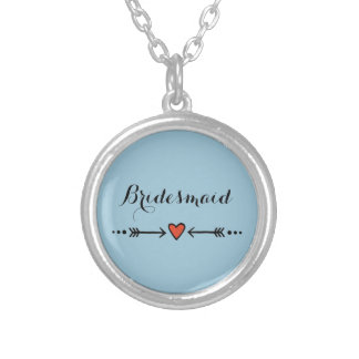 Pink Sweethearts & Arrows Blue Bridesmaid's Gift Round Pendant Necklace
