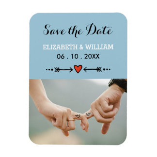 Pink Sweethearts & Arrows Blue Save the Date Magnet