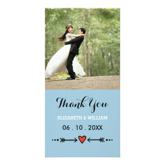 Pink Sweethearts & Arrows Blue Wedding Thank You Card