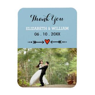 Pink Sweethearts & Arrows Blue Wedding Thank You Rectangular Photo Magnet