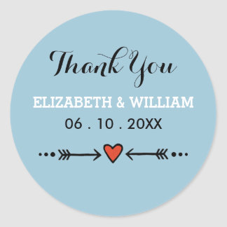 Pink Sweethearts & Arrows Blue Wedding Thank You Classic Round Sticker