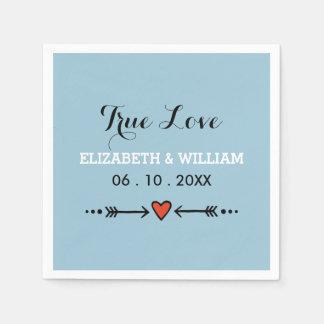 Pink Sweethearts & Arrows Blue Wedding True Love Napkin