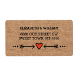 Pink Sweethearts & Arrows Burlap Country Style Label