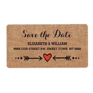 Pink Sweethearts & Arrows Burlap Save the Date Label