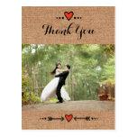 Pink Sweethearts & Arrows Burlap Thank You 2 Postcard
