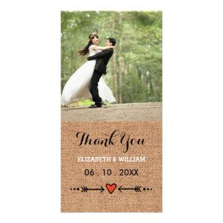 Pink Sweethearts & Arrows Burlap Wedding Thank You Card