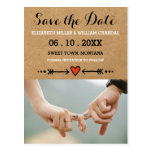 Pink Sweethearts & Arrows Engagement Save the Date Postcard