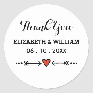 Pink Sweethearts Arrows On White Wedding Thank You Classic Round Sticker