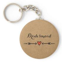 Pink Sweethearts & Arrows Rustic Bridesmaid's Gift Keychain