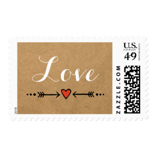 Pink Sweethearts & Arrows Rustic Country Love Postage