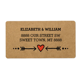 Pink Sweethearts & Arrows Rustic Country Style Label
