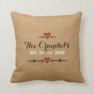 Pink Sweethearts & Arrows Rustic Country Wedding Throw Pillow
