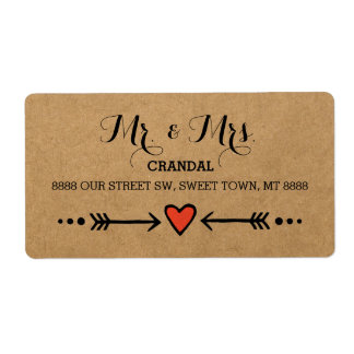 Pink Sweethearts & Arrows Rustic - Mr. & Mrs. Label