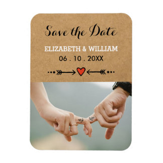 Pink Sweethearts & Arrows Rustic Save the Date Magnet