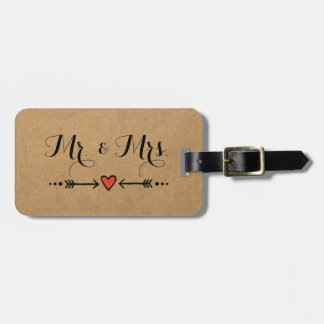 Pink Sweethearts & Arrows Rustic Style - Mr & Mrs Bag Tag