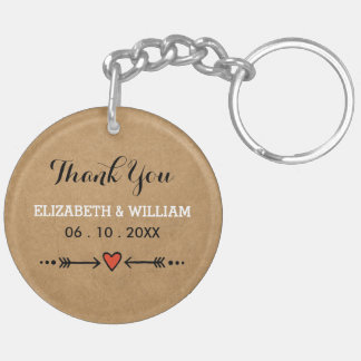 Pink Sweethearts & Arrows Rustic Thank You Double-Sided Round Acrylic Keychain
