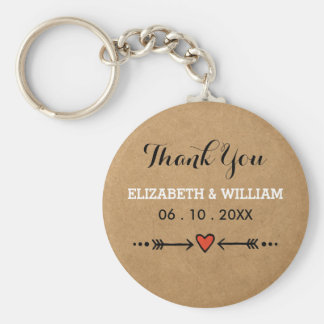 Pink Sweethearts & Arrows Rustic Thank You Basic Round Button Keychain
