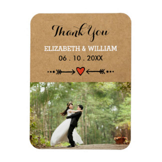 Pink Sweethearts & Arrows Rustic Wedding Thank You Magnet