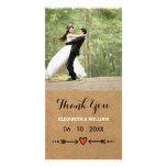 Pink Sweethearts & Arrows Rustic Wedding Thank You Photo Card