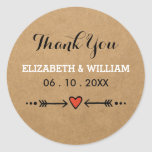 Pink Sweethearts & Arrows Rustic Wedding Thank You Round Stickers