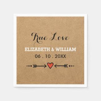 Pink Sweethearts & Arrows Rustic Wedding True Love Standard Cocktail Napkin