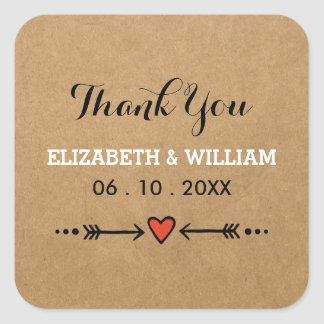 Pink Sweethearts & Arrows Square Wedding Thank You Square Sticker
