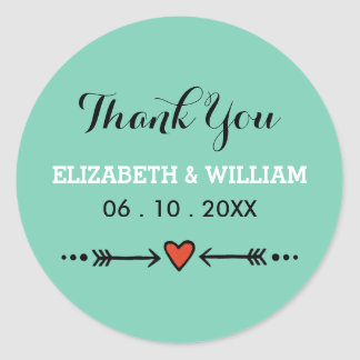 Pink Sweethearts & Arrows Teal Wedding Thank You Classic Round Sticker