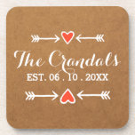 Pink Sweethearts & Arrows White Country Wedding Beverage Coaster