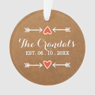 Pink Sweethearts & Arrows White Country Wedding Ornament