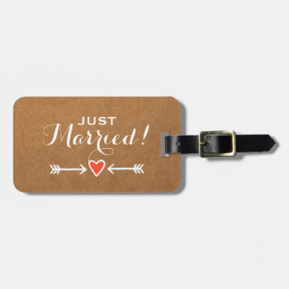 Pink Sweethearts & Arrows White - Just Married! Tag For Bags
