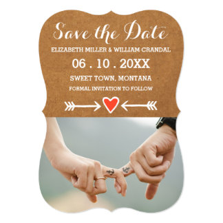 Pink Sweethearts & Arrows White Save the Date 5x7 Paper Invitation Card