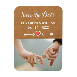 Pink Sweethearts & Arrows White Save the Date Magnet