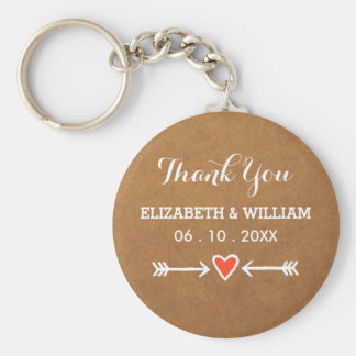 Pink Sweethearts & Arrows White Thank You Keychain