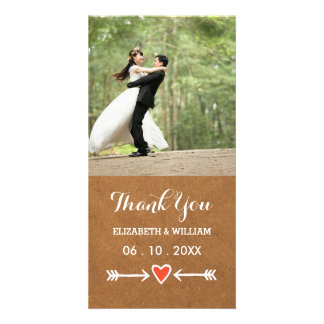 Pink Sweethearts & Arrows White Wedding Thank You Card