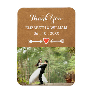 Pink Sweethearts & Arrows White Wedding Thank You Magnet