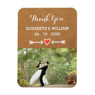 Pink Sweethearts & Arrows White Wedding Thank You Rectangular Photo Magnet