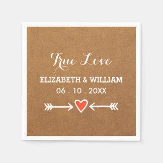 Pink Sweethearts & Arrows White Wedding True Love Napkin