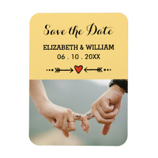 Pink Sweethearts Arrows Yellow Save the Date Magnet