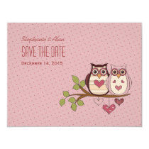 Pink Sweethoot Save The Date Card